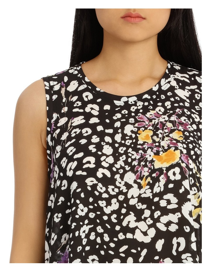 Black Animal Floral High Low Swing Top image 4