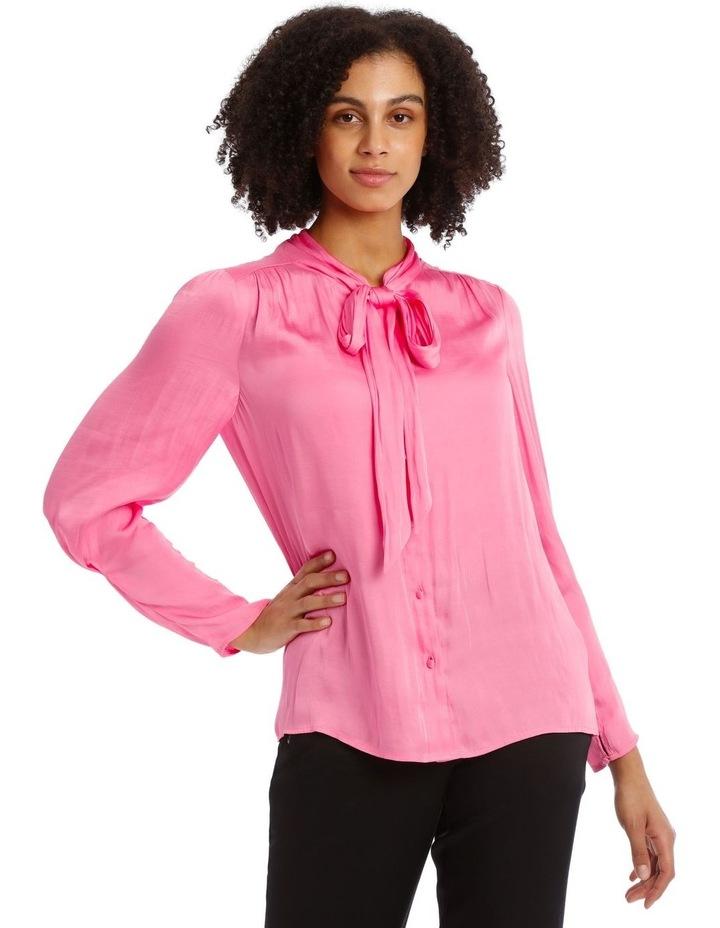Pink Bruised Poly Pussy Bow Shirt image 1