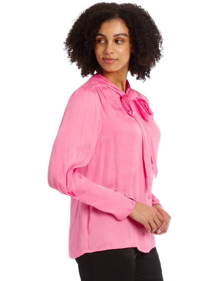 Pink Bruised Poly Pussy Bow Shirt image 2