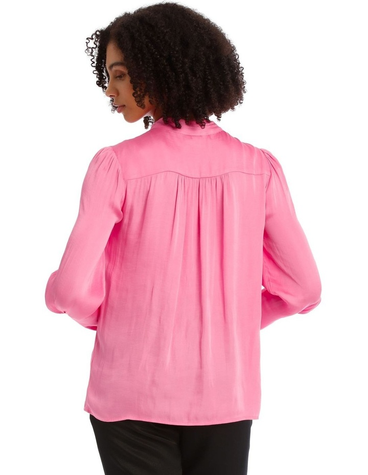 Pink Bruised Poly Pussy Bow Shirt image 3