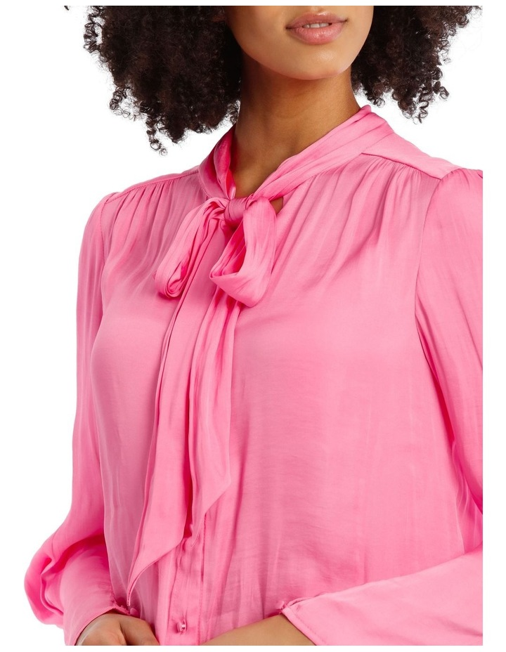 Pink Bruised Poly Pussy Bow Shirt image 4