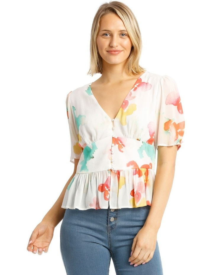 Top With Button Detail Print Top image 1