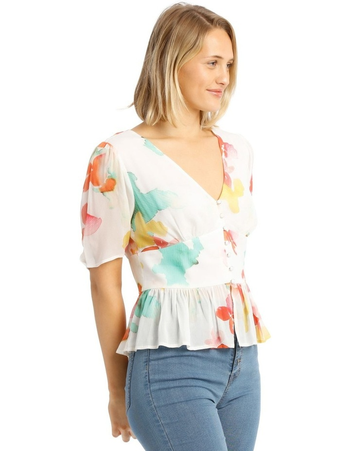 Top With Button Detail Print Top image 2