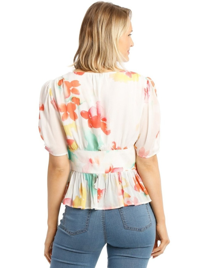Top With Button Detail Print Top image 3