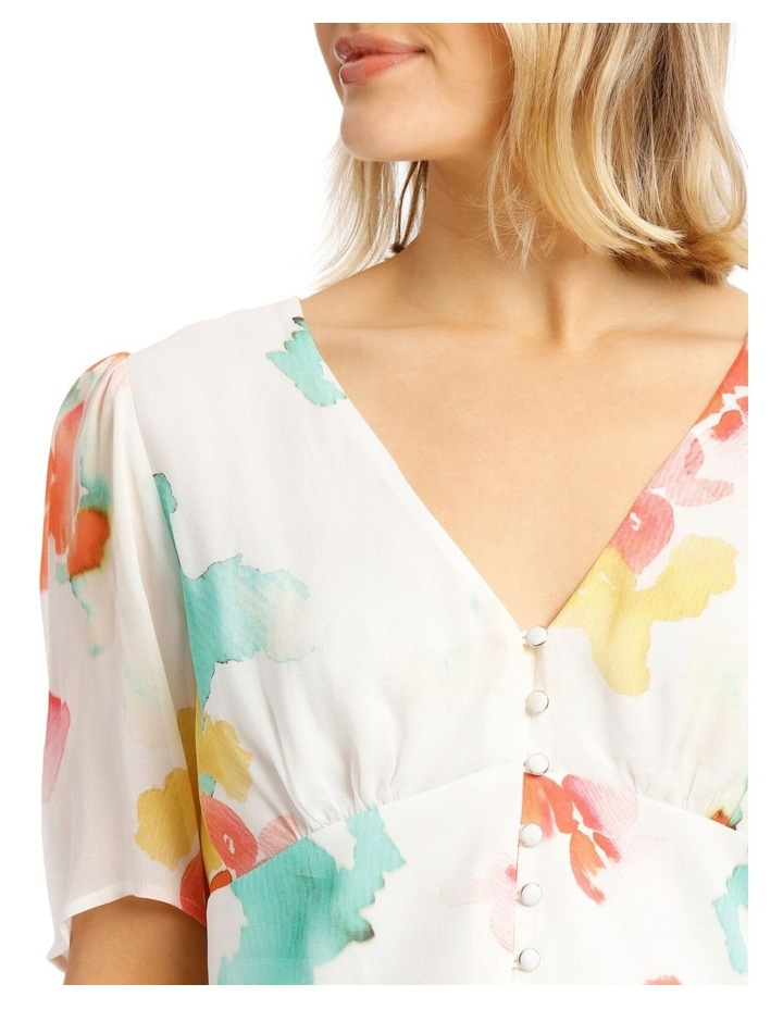 Top With Button Detail Print Top image 4