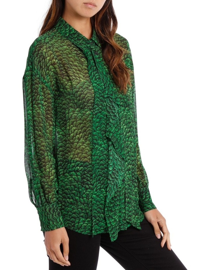 Emeral Lotus Print Frill Front Longline Shirt image 2