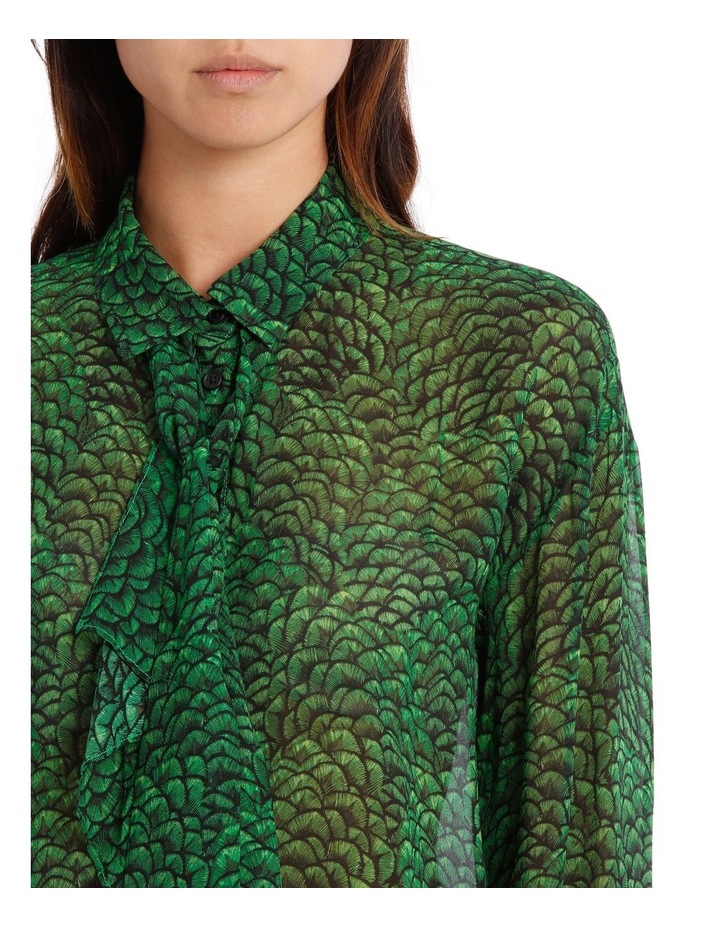 Emeral Lotus Print Frill Front Longline Shirt image 4
