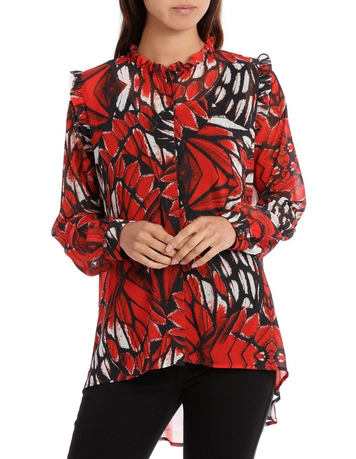 Butterfly Print Frill Front Shoulder Shirt image 1