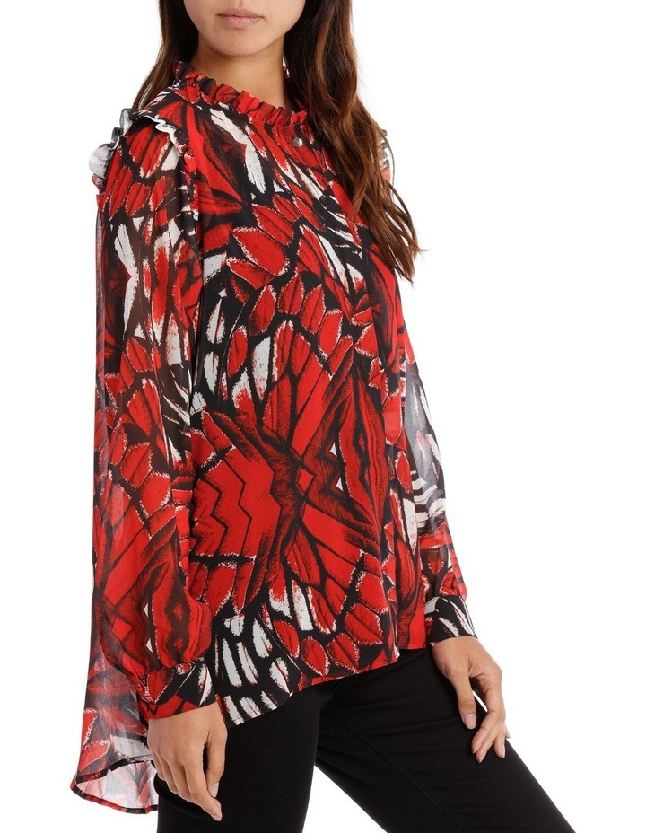 Butterfly Print Frill Front Shoulder Shirt image 2