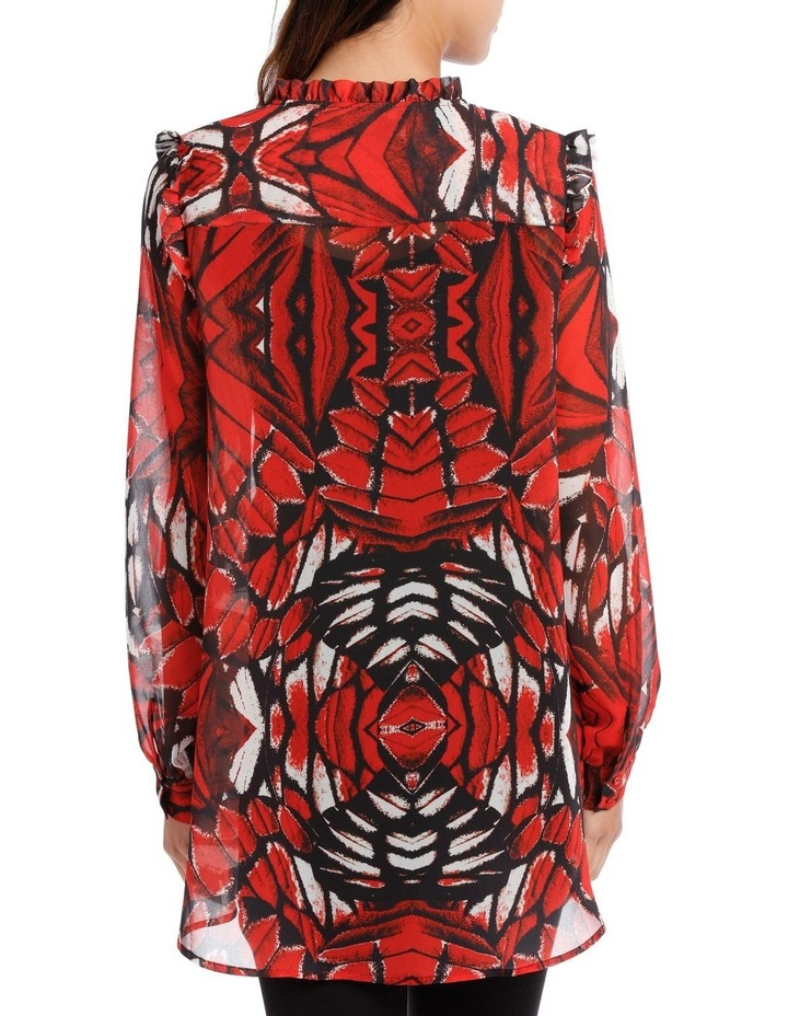 Butterfly Print Frill Front Shoulder Shirt image 3