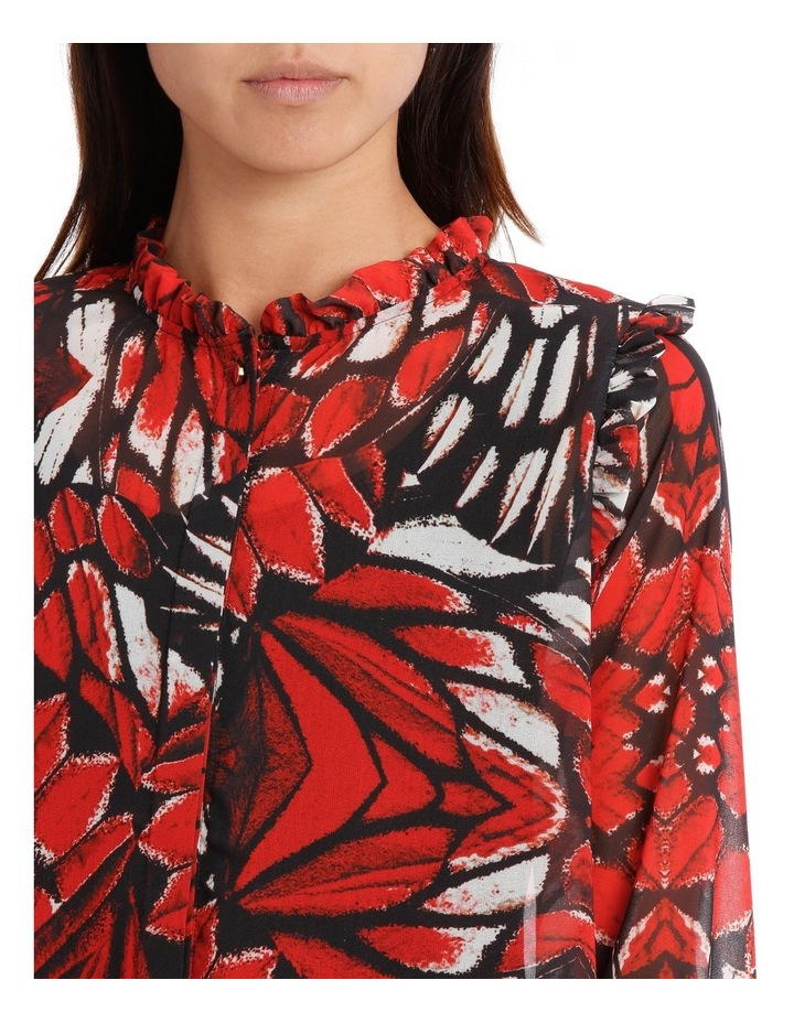 Butterfly Print Frill Front Shoulder Shirt image 4
