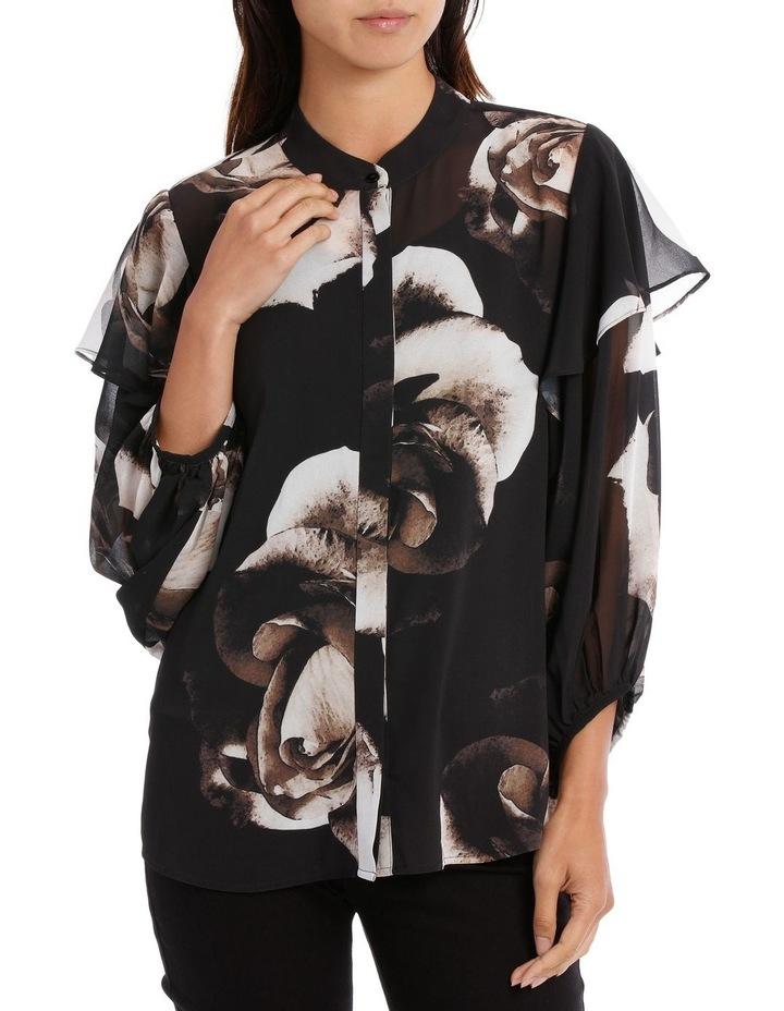 Infinity Rose Contrast Ruffle Slv Shirt image 1
