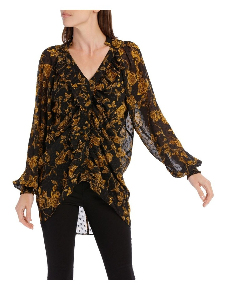 Yellow Grunge Floral Frill Placket Shirt image 1