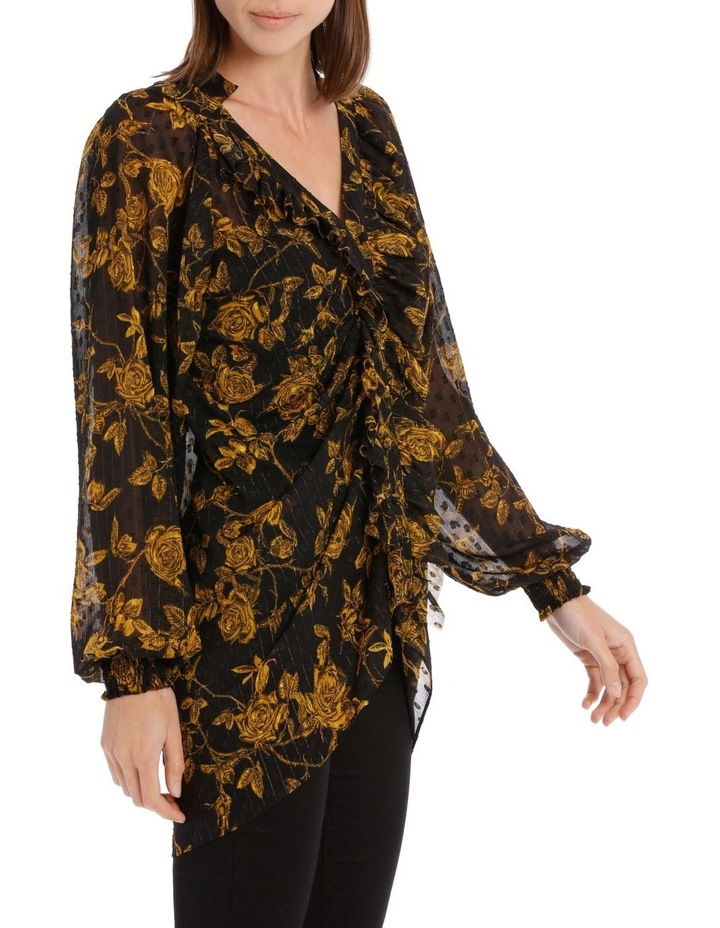 Yellow Grunge Floral Frill Placket Shirt image 2