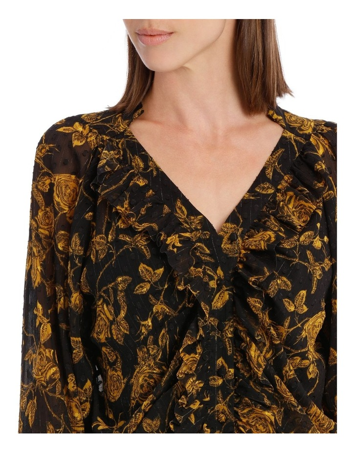 Yellow Grunge Floral Frill Placket Shirt image 4