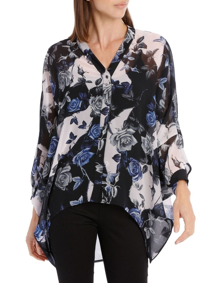 Blue Water Floral Batwing Shirt image 1