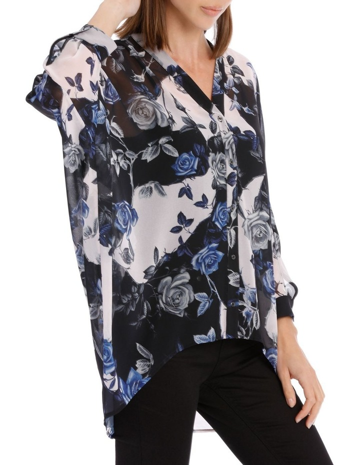 Blue Water Floral Batwing Shirt image 2