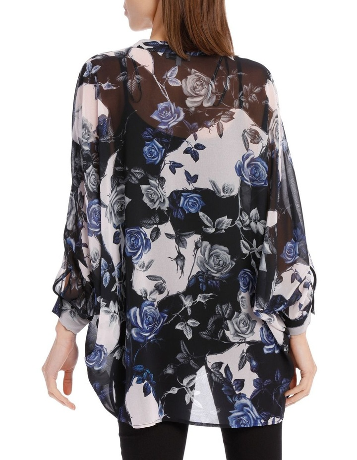 Blue Water Floral Batwing Shirt image 3