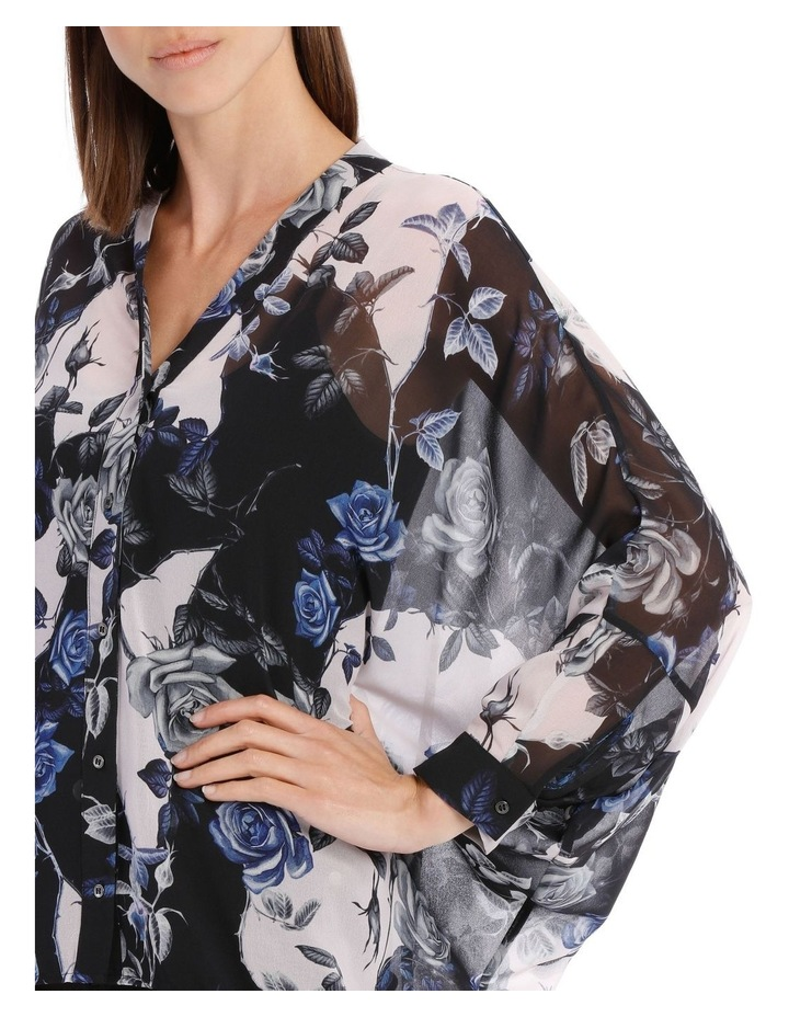Blue Water Floral Batwing Shirt image 4