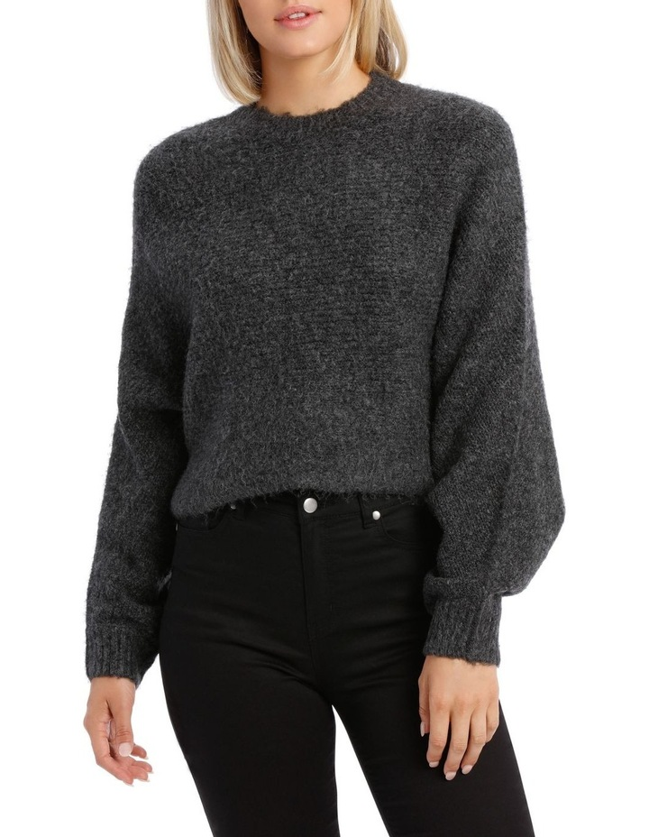 Charcoal Batwing Cropped Sweater image 1