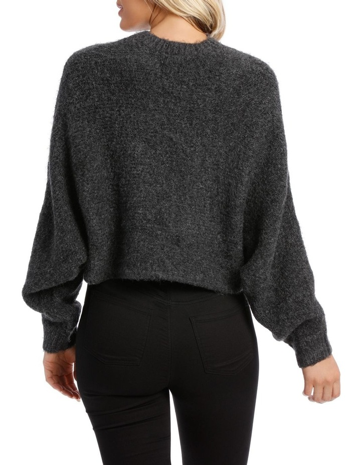 Charcoal Batwing Cropped Sweater image 3
