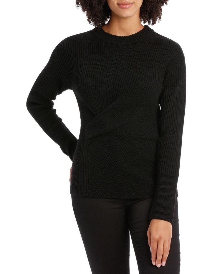 Black Rib Twist Front Sweater image 1