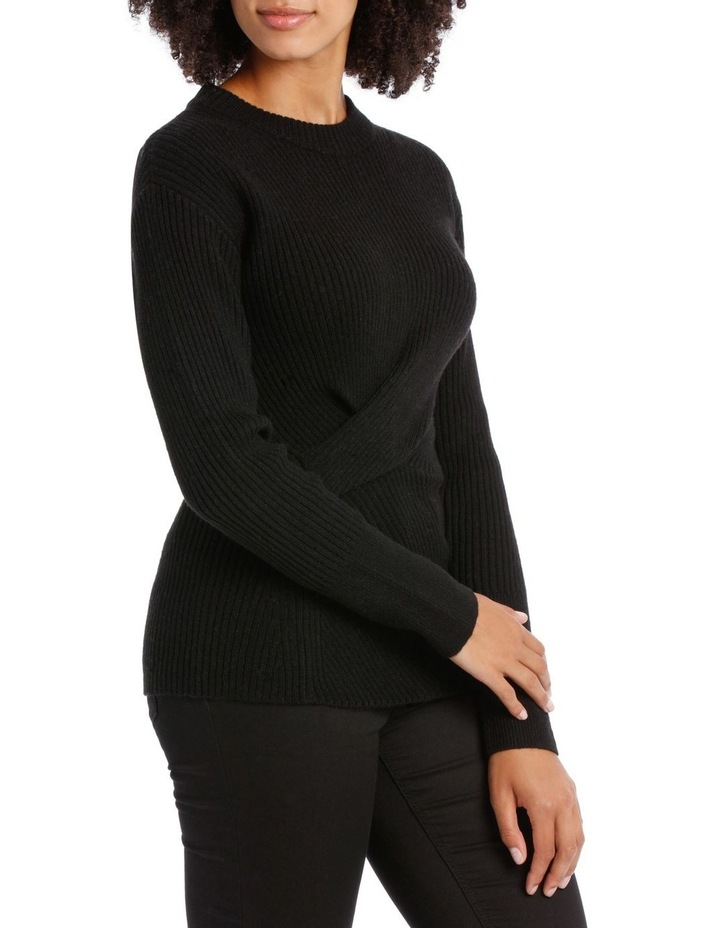 Black Rib Twist Front Sweater image 2