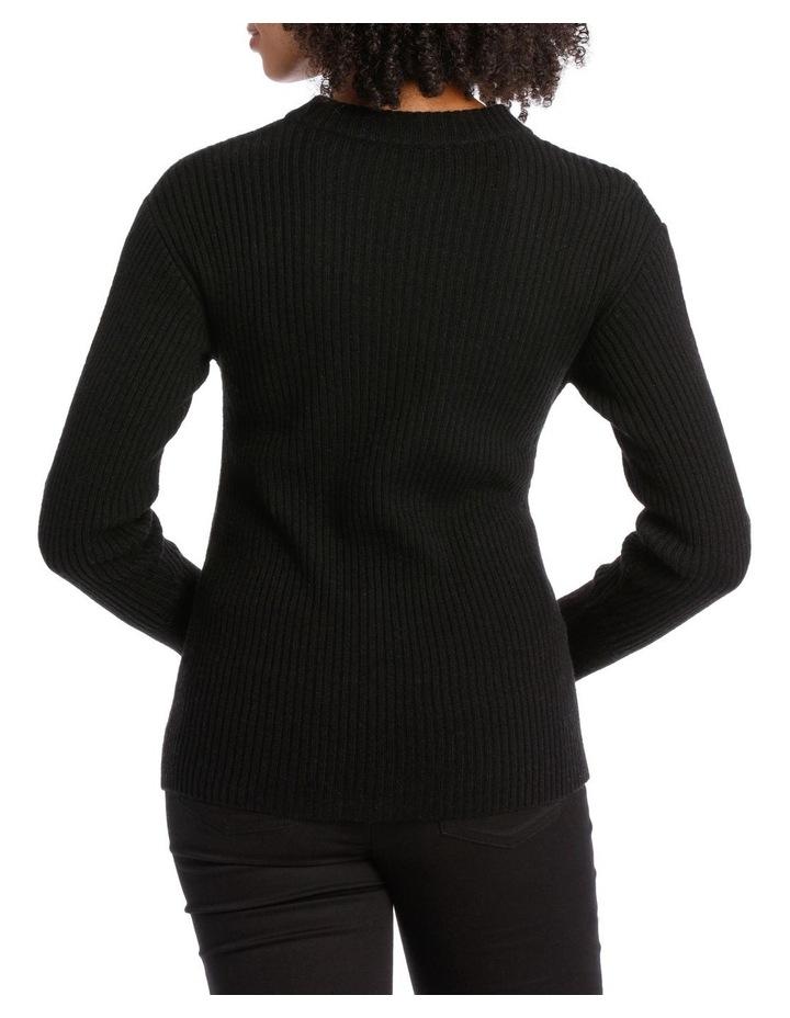 Black Rib Twist Front Sweater image 3