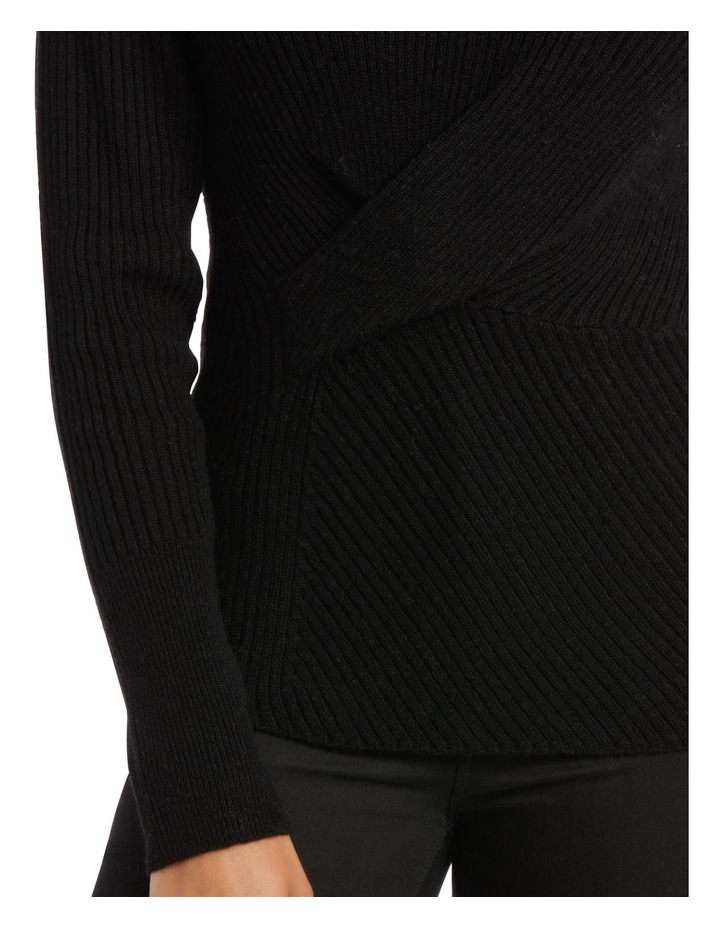Black Rib Twist Front Sweater image 4
