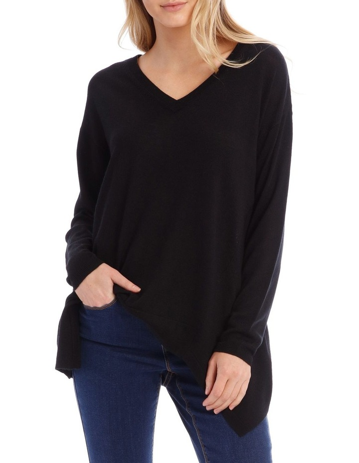 Black V-Neck Knit Jumper image 1