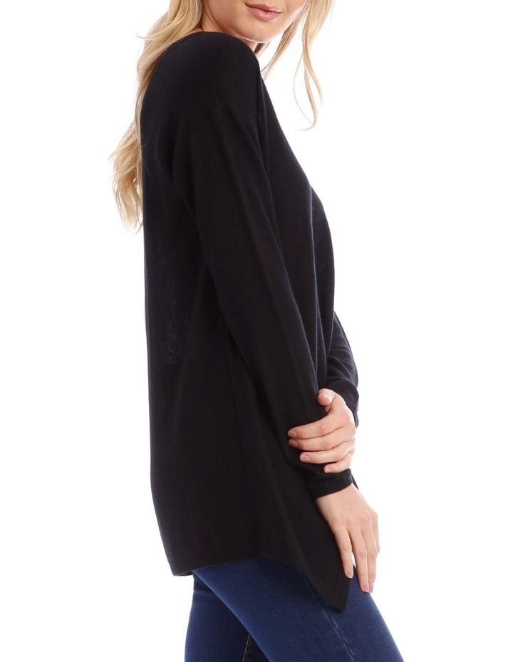 Black V-Neck Knit Jumper image 2