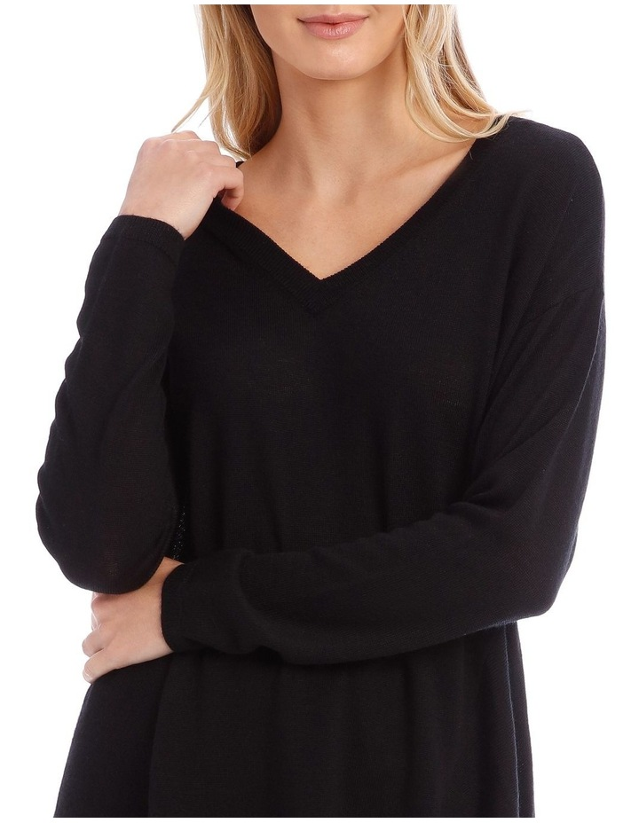 Black V-Neck Knit Jumper image 4