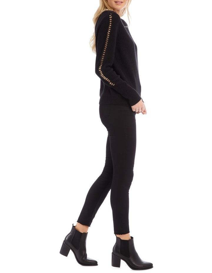 Long Sleeve Black Chain Detail Black Jumper image 2