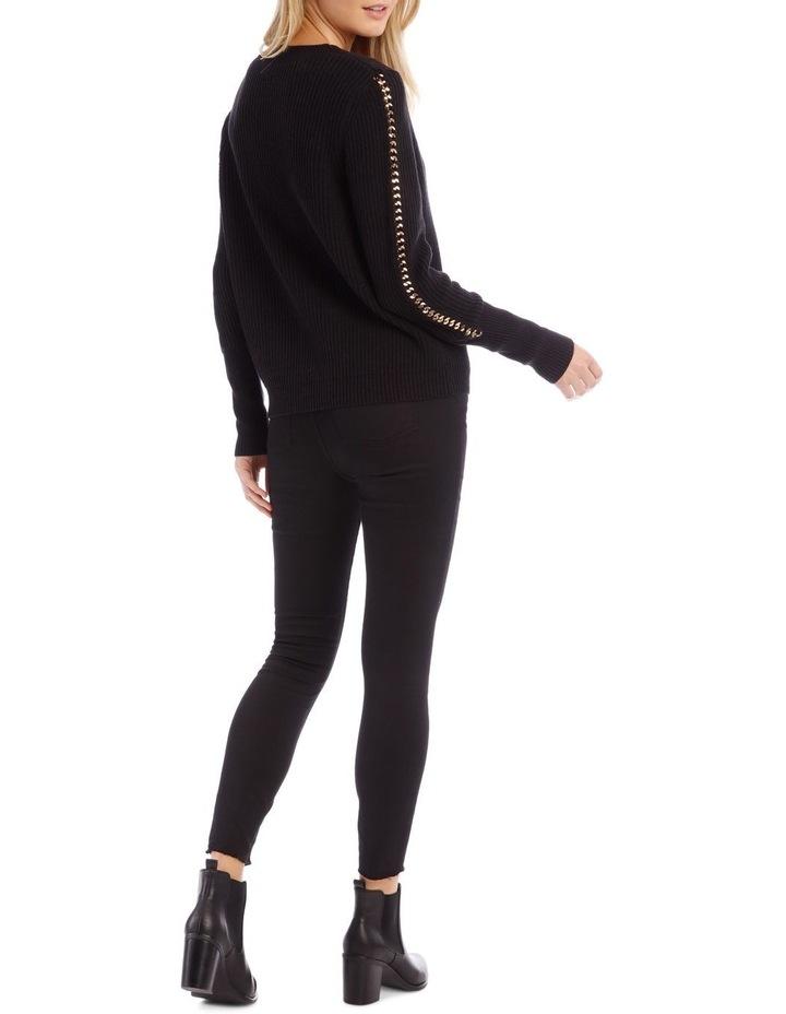 Long Sleeve Black Chain Detail Black Jumper image 3