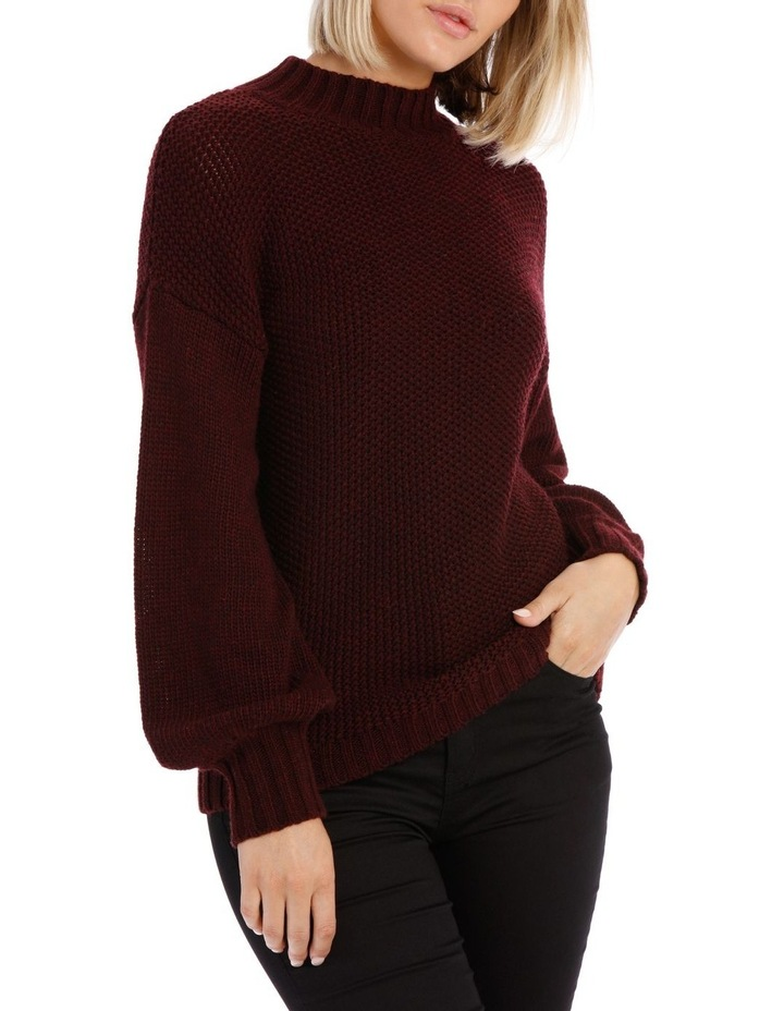 Merlot Balloon Sleeve Knit Jumper image 1