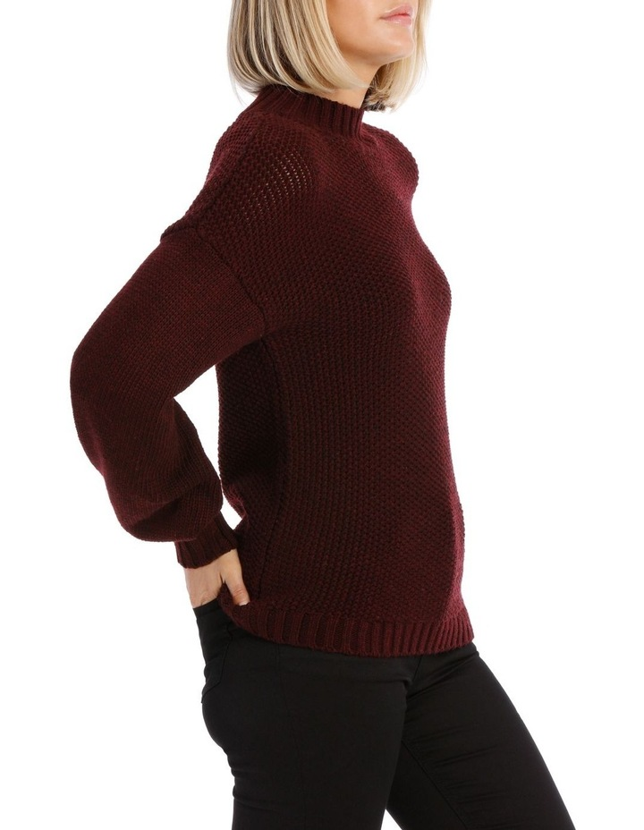 Merlot Balloon Sleeve Knit Jumper image 2