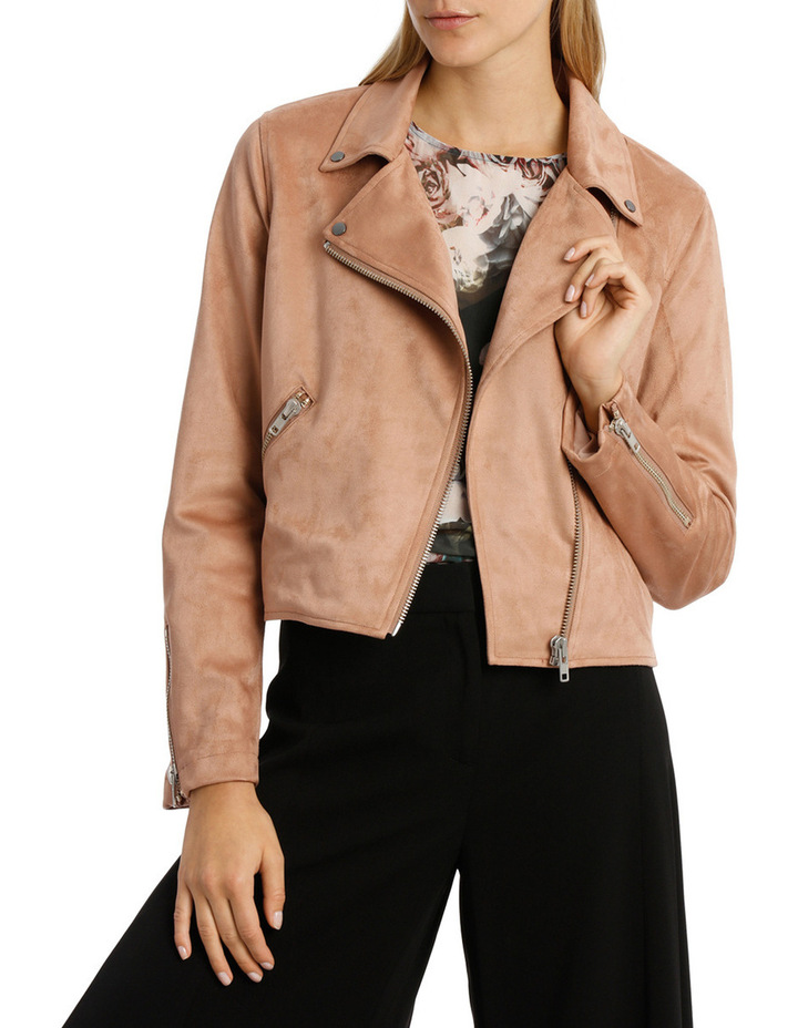 Amber Suedette Zip Detail Crop Jacket image 1