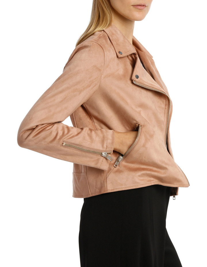 Amber Suedette Zip Detail Crop Jacket image 2