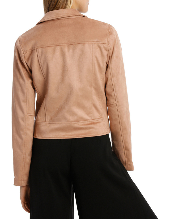 Amber Suedette Zip Detail Crop Jacket image 3