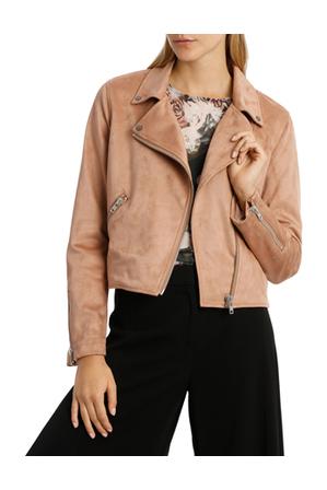 Wayne Cooper - Amber Suedette Zip Detail Crop Jacket