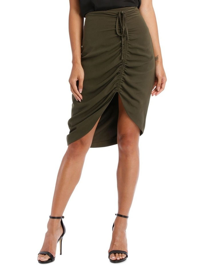 Khaki Asymmetric Gathered Skirt image 1