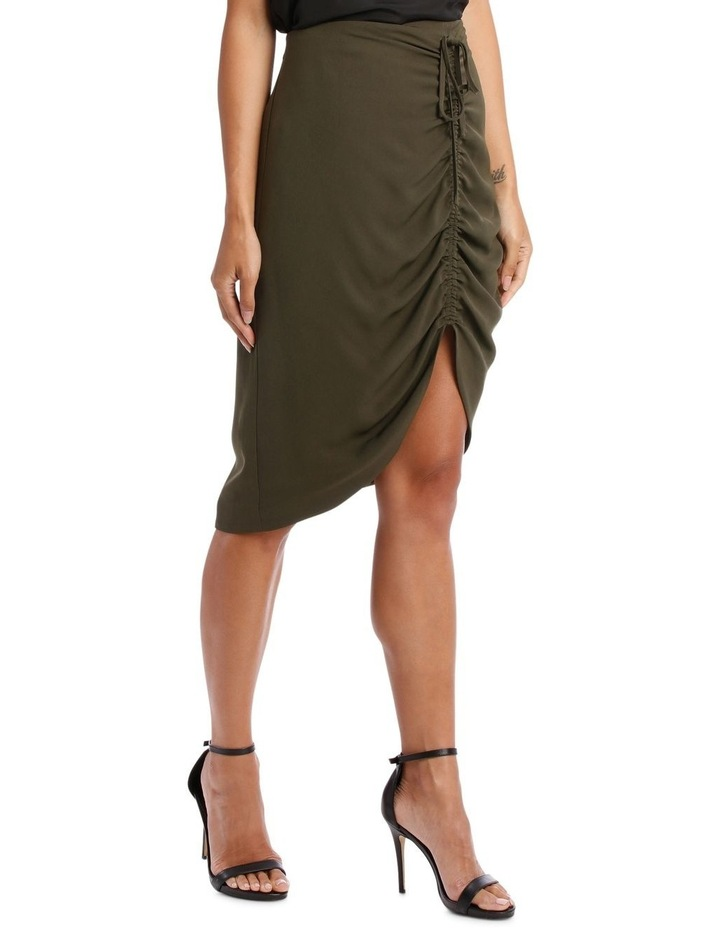 Khaki Asymmetric Gathered Skirt image 2