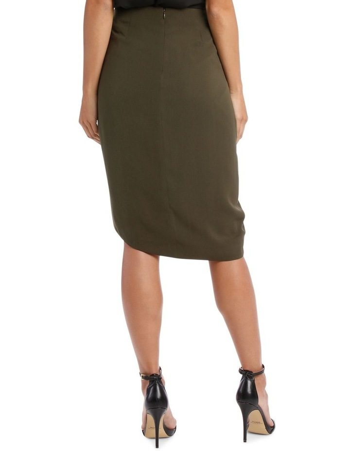 Khaki Asymmetric Gathered Skirt image 3