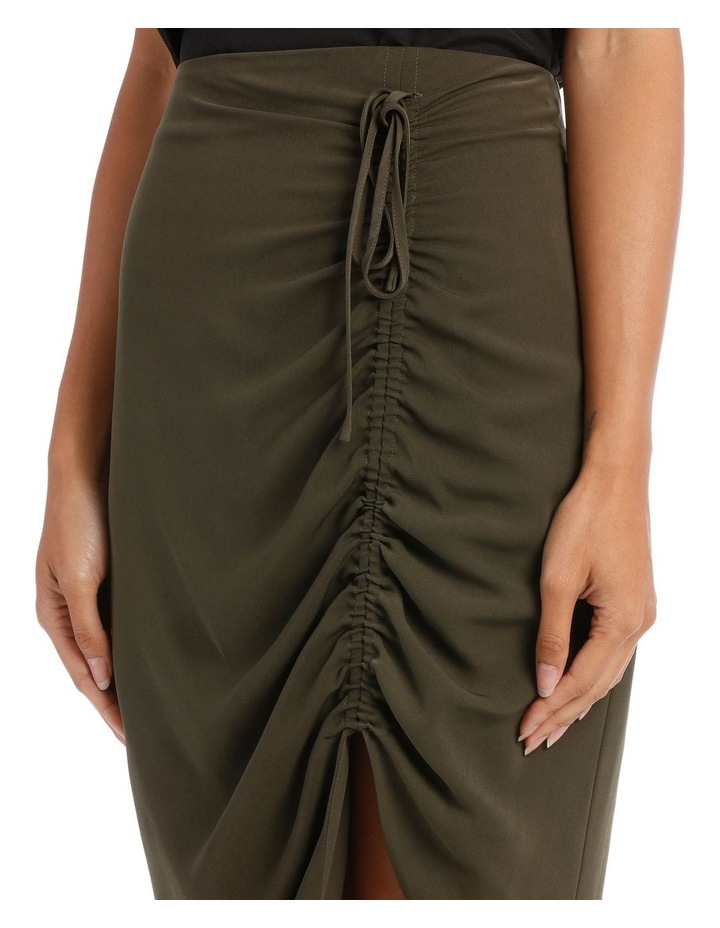 Khaki Asymmetric Gathered Skirt image 4