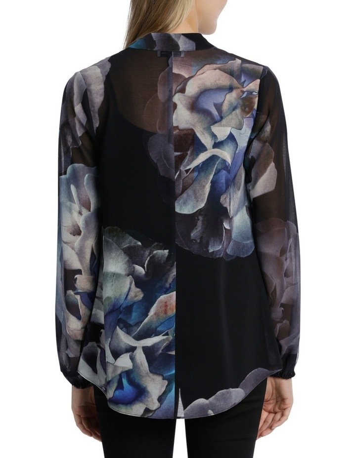 Hot Price Black/Blue Moon Floral Drape Top image 3