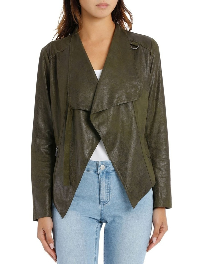 Khaki Cropped Waterfall Jacket image 1