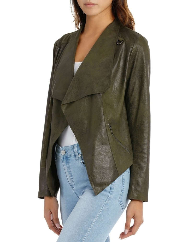 Khaki Cropped Waterfall Jacket image 2