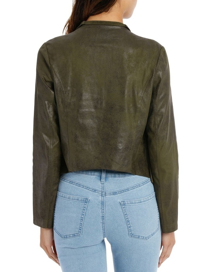 Khaki Cropped Waterfall Jacket image 3