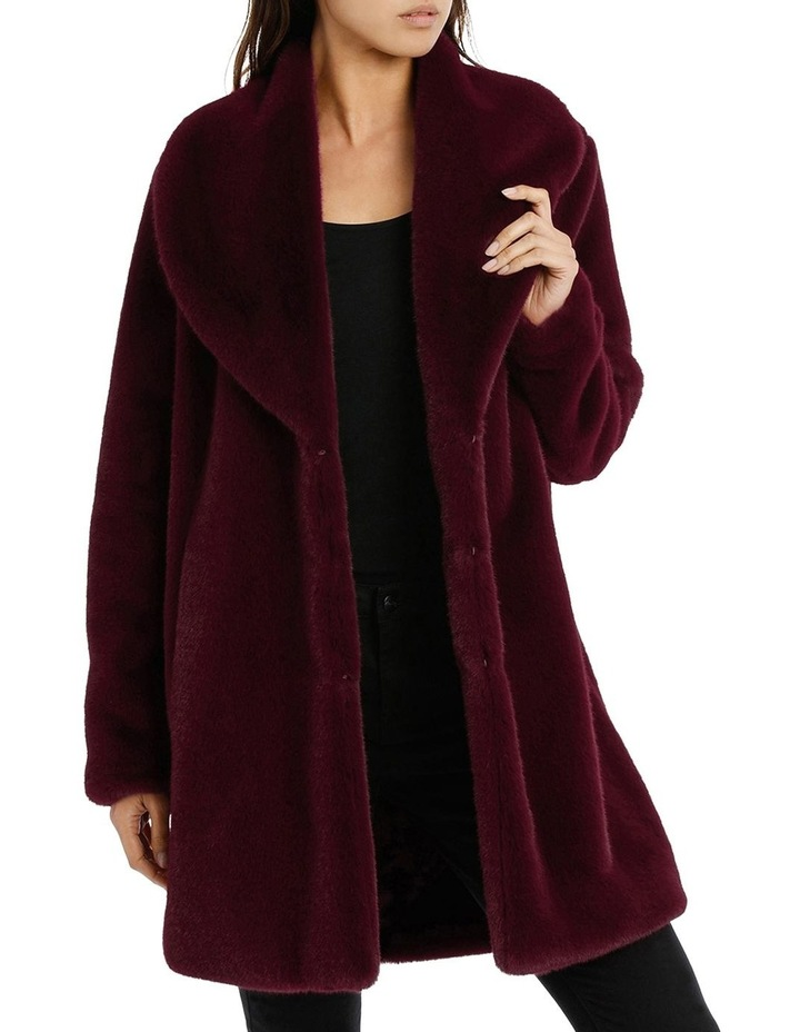 Shawl Collar Fur Coat Bordeaux image 1