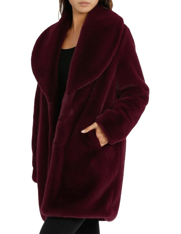 Shawl Collar Fur Coat Bordeaux image 2